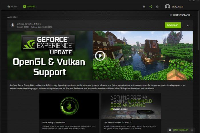 GeForce Experience support OpenGL & Vulkan