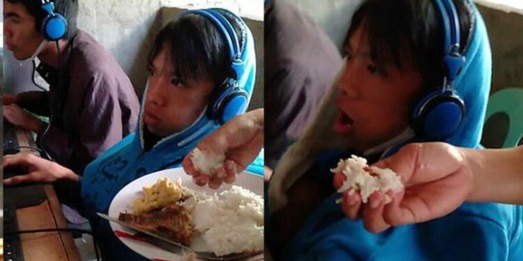 Bermain Game Online 2 Hari Non Stop, Seorang Ibu Mendatangi Warnet Dan Menyuapi Anaknya Makan! Gamedaim