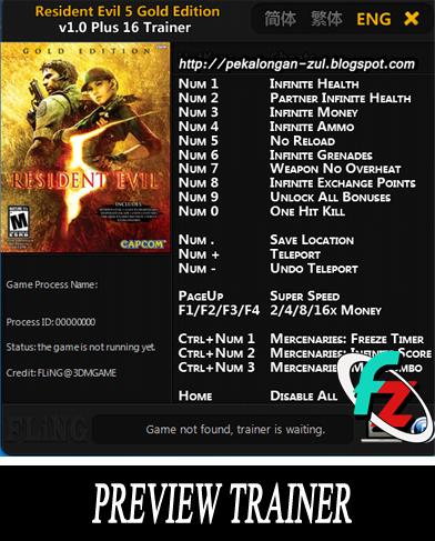 Inilah Cheat Resident Evil 5 Gold Edition PC Lengkap Bahasa Indonesia! GD