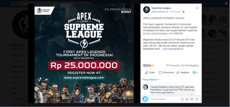 Supreme League Akan Gelar Tournamen Apex Legends Pertama Di Indonesia! GD