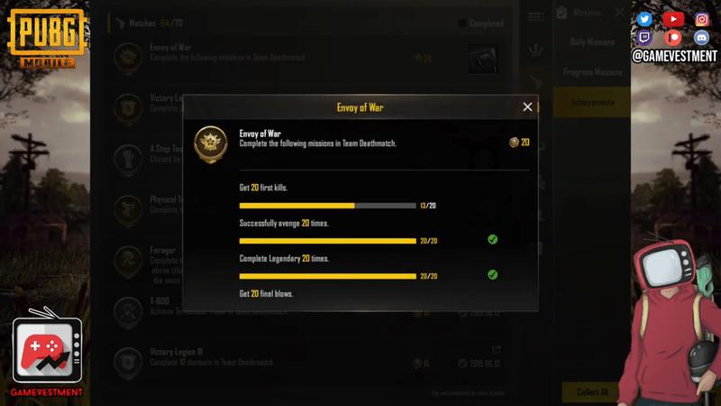 Beginilah Cara Mendapatkan Semua Achievement Mode Team Deathmatch Di PUBG Mobile Envoy Of War