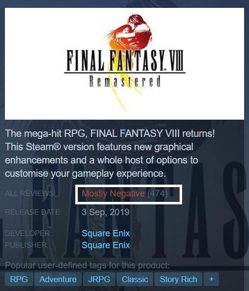 Baru Rilis Final Fantasy VIII Remastered Malah Dibanjiri Review Negatif