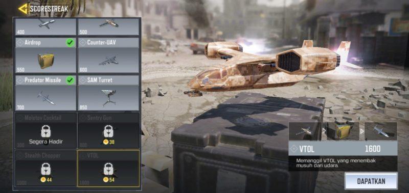 5 Scorestreak Terbaik Di Call Of Duty Mobile VTOL
