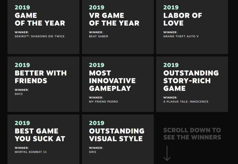Sekiro Shadows Die Twice Kembali Menjadi Game Of The Year Dalam The Steam Awards 2019