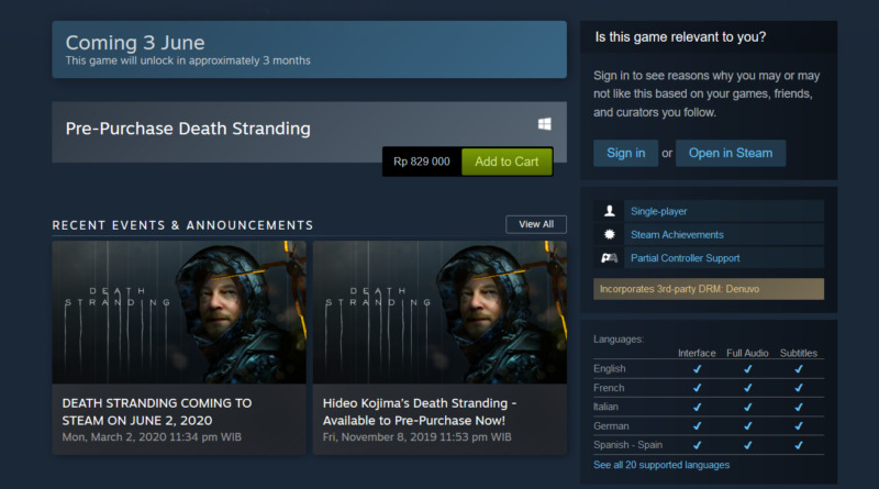 Death Stranding Versi PC Akan Gunakan Denuvo Gamedaim