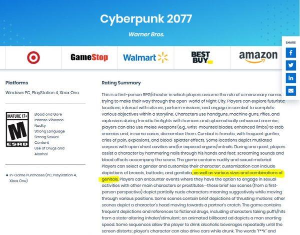 Cyberpunk 2077 Akan Hadirkan Fitur Atur Besar Alat Kelamin