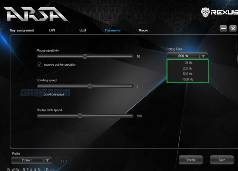 Rexus Arsa Software Parameter Gamedaim Review