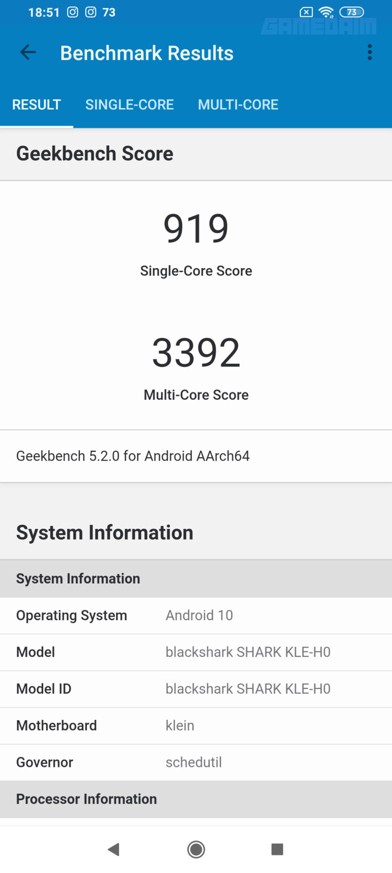 Benchmark Geekbench 5 Black Shark 3 Gamedaim