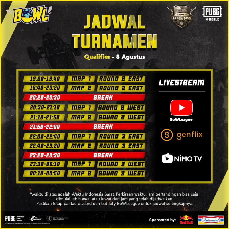 Jadwal Turnamen Qualifier 8 Agustus
