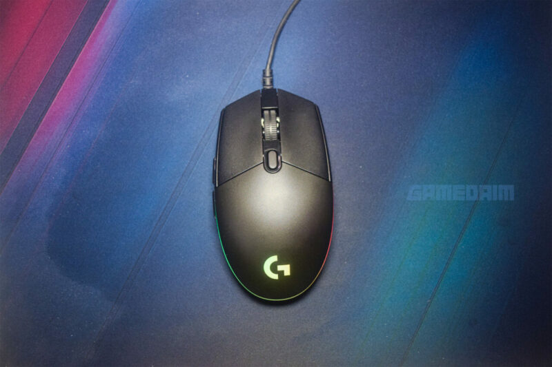 Logitech G102 Lightsync Mouse On Mousepad Overhead Look
