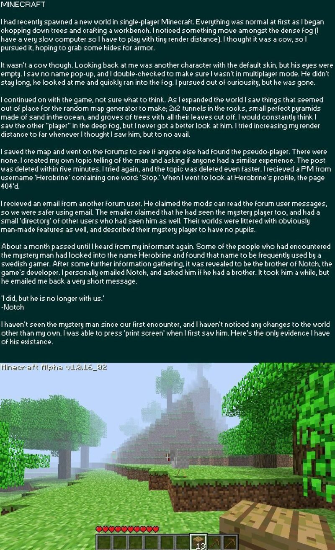 Beberapa Bukti kehadiran Herobrine pada game minecraft | MinecraftWiki