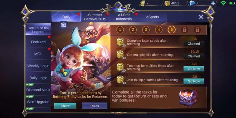 10 Cara Mendapatkan Hero Gratis Mobile Legends Ml Terbaru 2021 Event 2