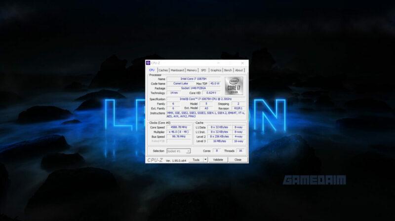 Lenovo Legion 7i Cpu Z Gamedaim Review