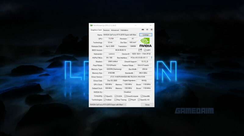 Lenovo Legion 7i Gpu Z Gamedaim Review