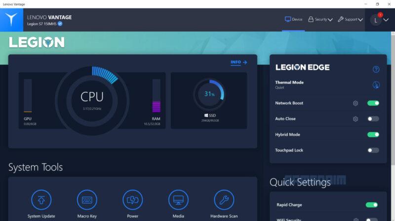 Lenovo Legion Slim 7i Ss Lenovo Vantage 1 Gamedaim Review