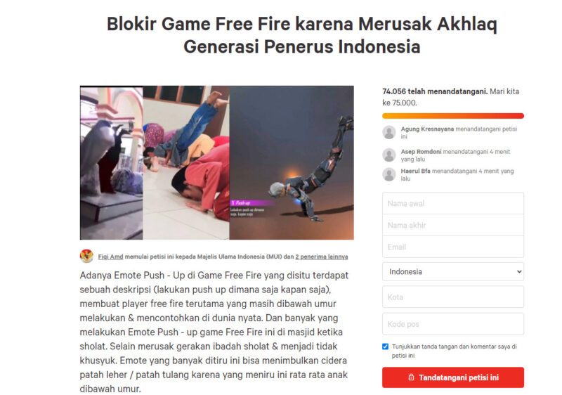 Petisi Free Fire