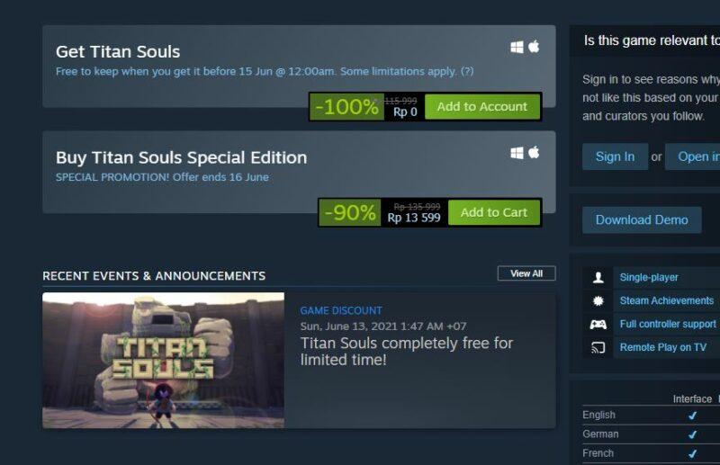Titan Souls Kini Gratis Lewat Steam Store   Devolver