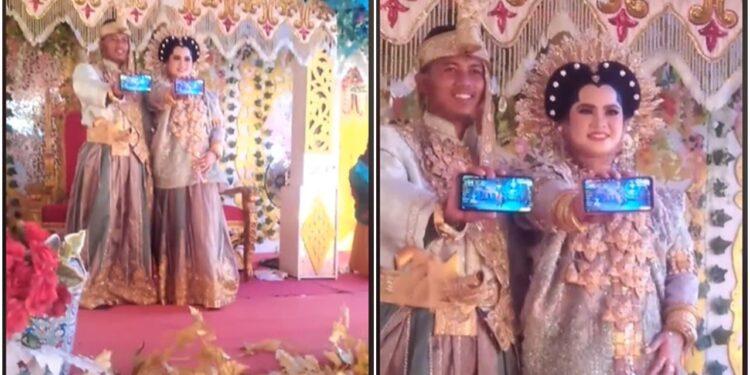 Gokil, Pasangan Pengantin Ini Tunjukkan Game Free Fire Saat Pernikahan, 'booyah Bareng'