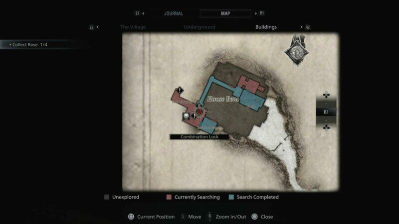 House Beneviento Lock Combination Map