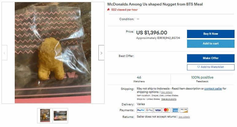 Nugget Meal Bts Berbentuk Karakter Crewmate Among Us