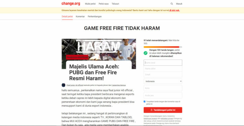 Petisi Free Fire Haram