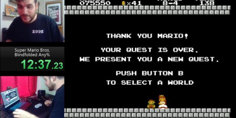 Gokil! Speedrunner Tamatkan Super Mario Bross Dalam 11 Menit Dengan Mata Tertutup