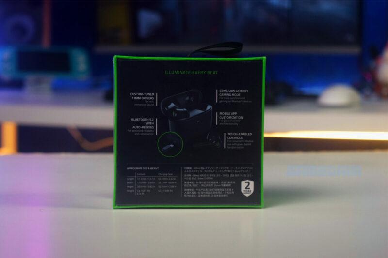 Razer Hammerhead True Wireless X Box Belakang Gamedaim Review